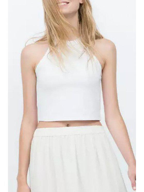 hot Jewel Neck Solid Color Crop Top - WHITE M