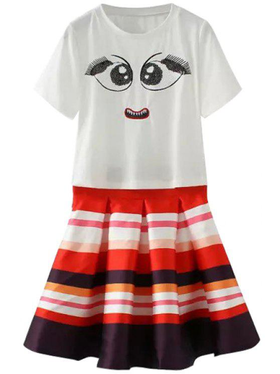 lady Short Sleeve Sequins T-Shirt + Colored Stripes Skirt Twinset - WHITE S