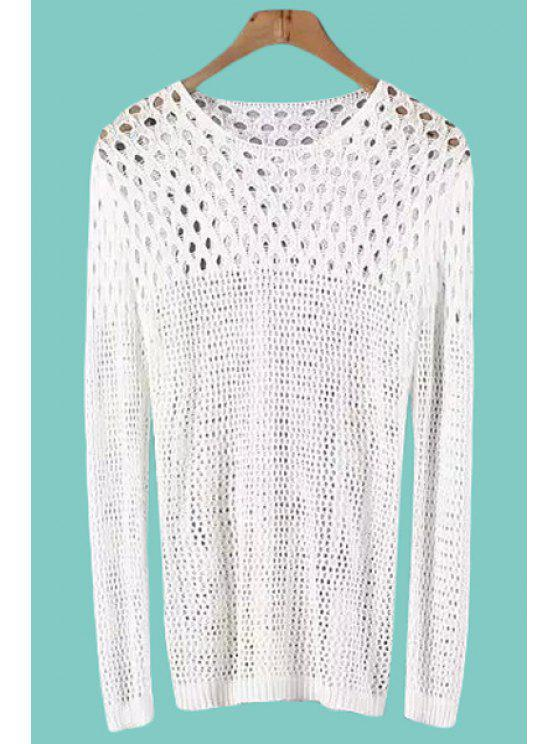 unique See-Through Openwork Long Sleeve Sweater - WHITE ONE SIZE(FIT SIZE XS TO M)