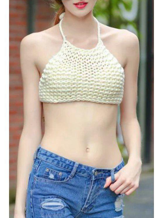 fashion Halter Lace-Up Knitted Off-White Crop Top - OFF-WHITE ONE SIZE(FIT SIZE XS TO M)