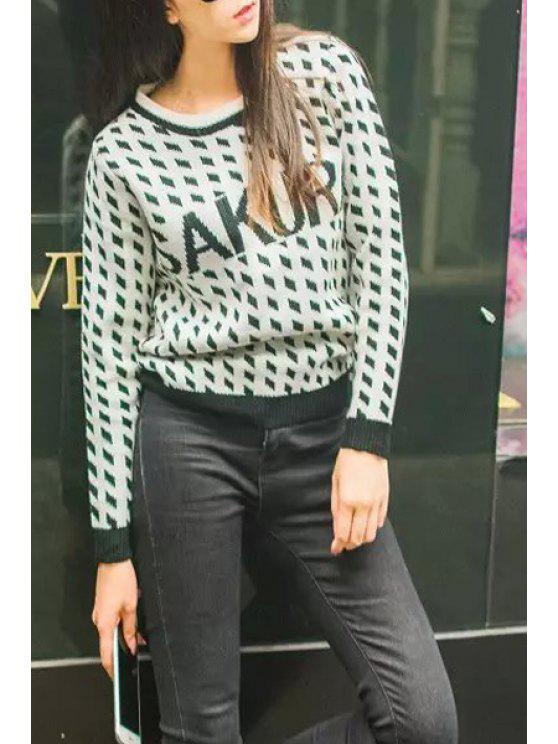 online Letter Pattern Argyle Long Sleeve Sweater - WHITE S