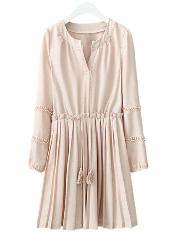 shops Long Sleeve Solid Color Pleated Chiffon Dress - YELLOWISH PINK M