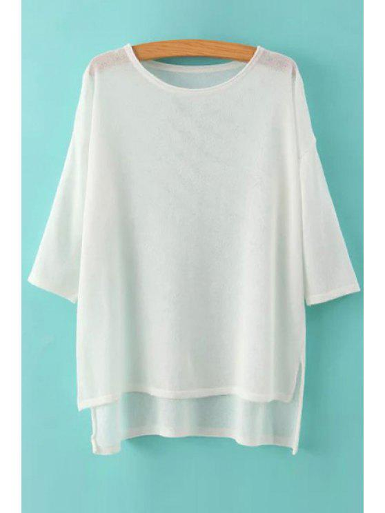 unique See-Through High Low Half Sleeve Sweater - WHITE ONE SIZE(FIT SIZE XS TO M)
