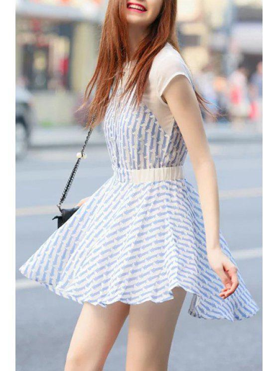 shop Cartoon Cat Print Short Sleeve Dress - LIGHT BLUE S