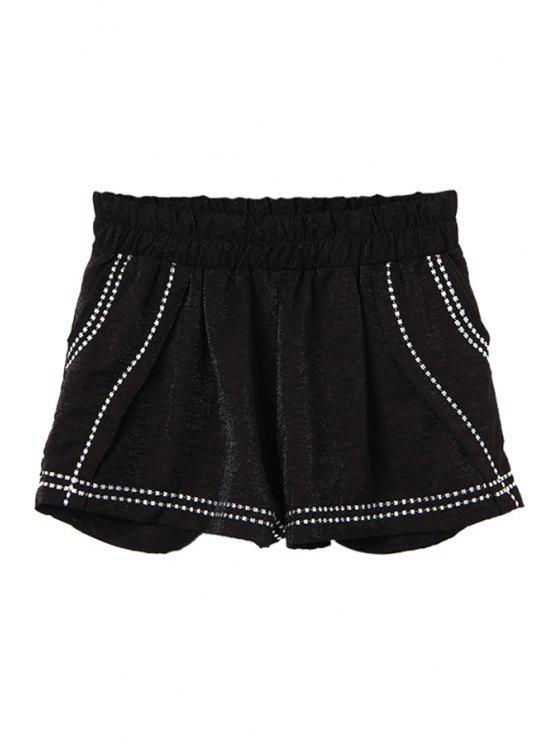 lady Embroidery Elastic Waist Shorts - BLACK M