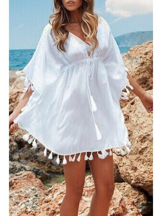 women's Loose-Fitting Drawstring Laciness White Dress - WHITE ONE SIZE(FIT SIZE XS TO M)