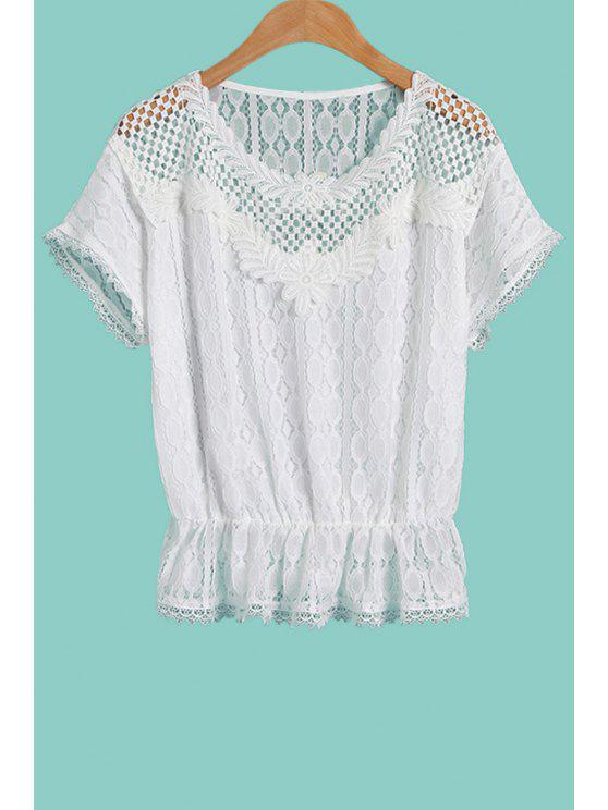 hot Lace Hollow Short Sleeve White Blouse - WHITE M