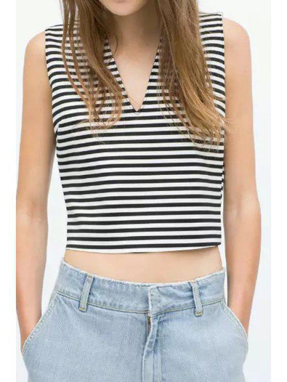 outfit V-Neck Stripe Sleeveless Crop Top - WHITE AND BLACK S