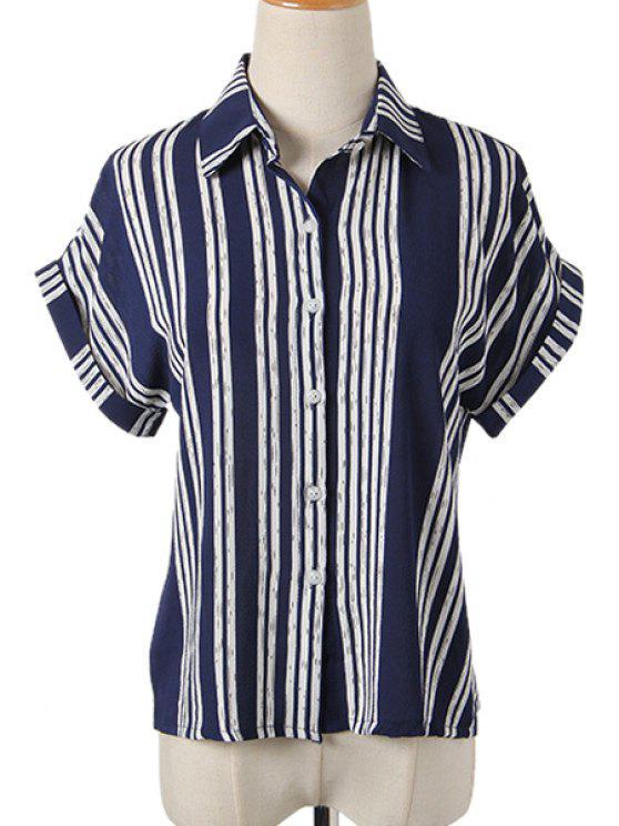 shop Stripes Turn-Down Collar Short Sleeve Shirt - BLUE M