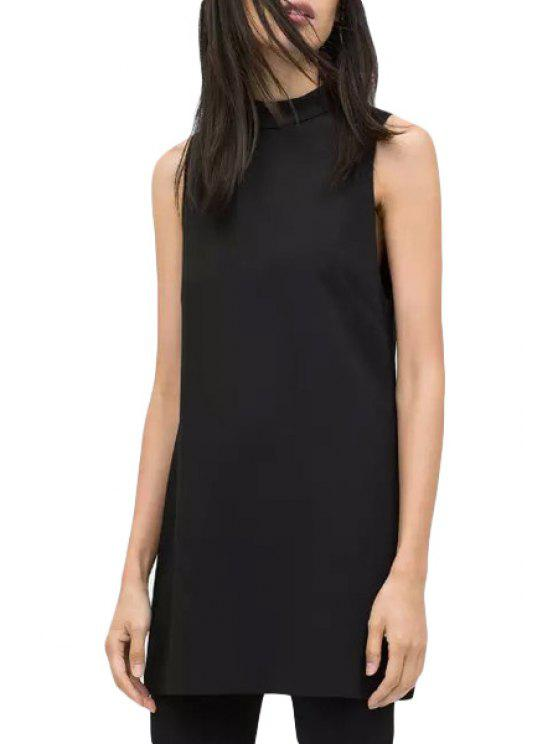 women Round Neck Solid Color Sleeveless Dress - BLACK S