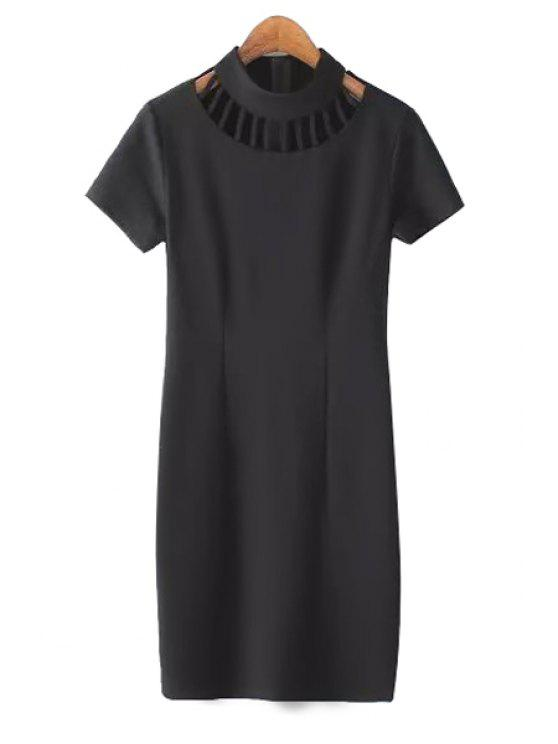 lady Cut Out Black Bodycon Dress - BLACK S