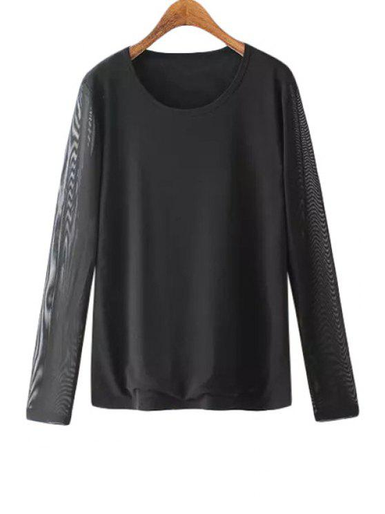 outfit See-Through Voile Splicing Long Sleeve T-Shirt - BLACK M