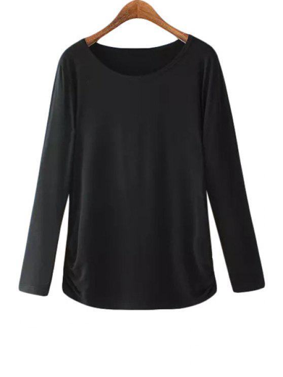 trendy Ruffle High Low Long Sleeve T-Shirt - BLACK M