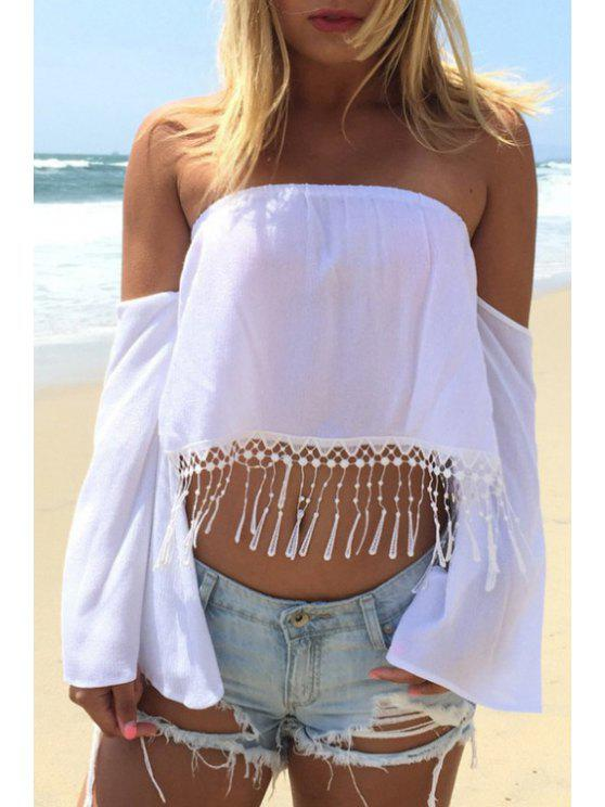 affordable White Off-The-Shoulder Loose-Fitting Blouse - WHITE XS