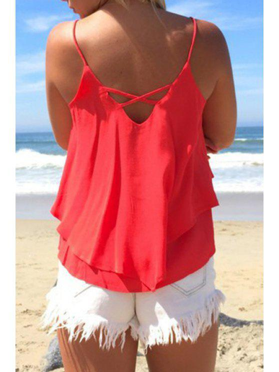 women Spaghetti Strap Solid Color Layered Tank Top - WATERMELON RED XS