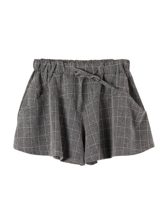unique Checked Drawstring Wide Leg Pantskirt - CHECKED M