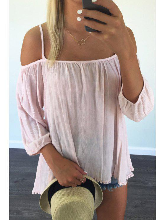 chic Solid Color Spaghetti Strap 3/4 Sleeve Blouse - PINK M