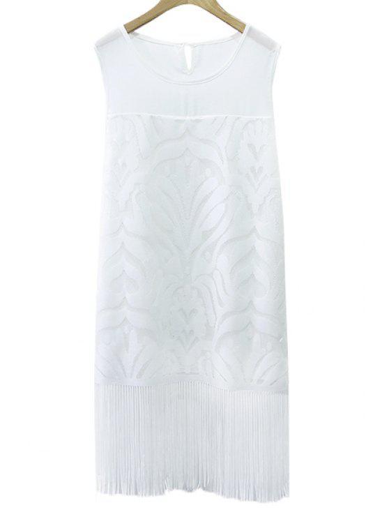 unique Solid Color Tassels Sundress - WHITE XL