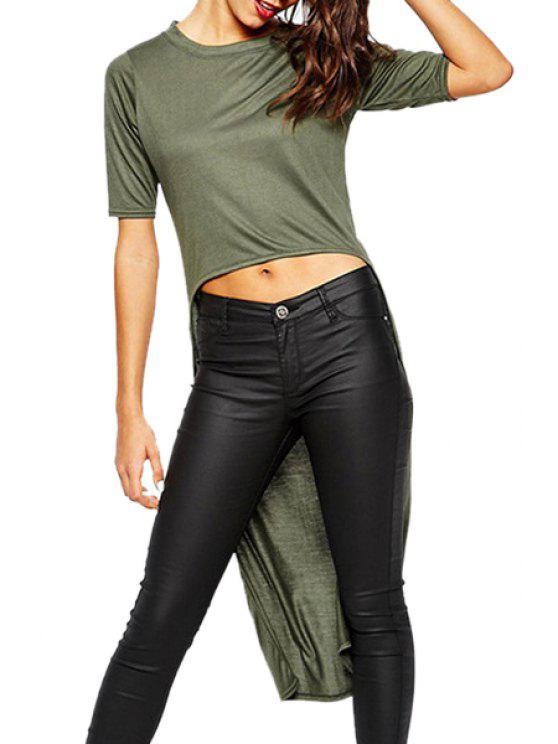 outfits High Low Solid Color Short Sleeve T-Shirt - OLIVE GREEN S