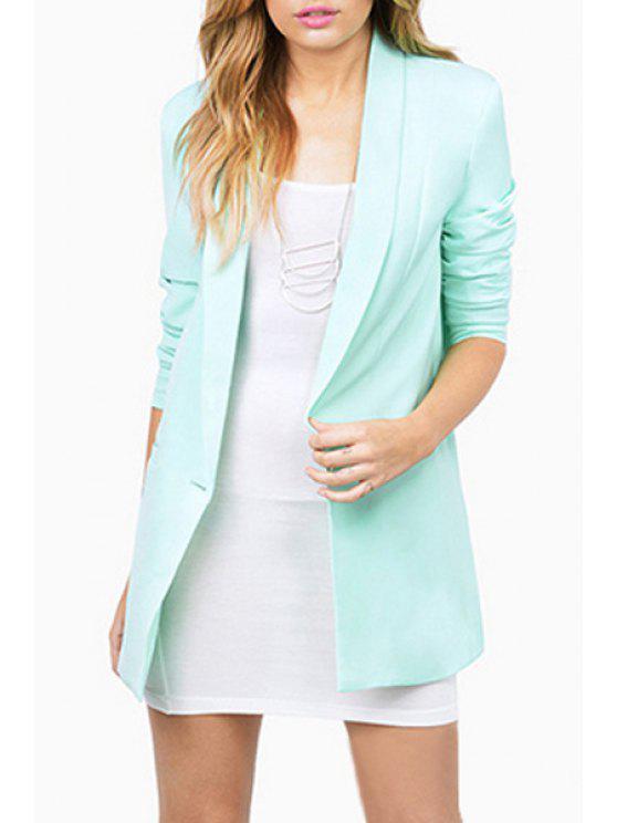 ladies Shawl Collar Candy Color Long Sleeve Blazer - MINT GREEN XL