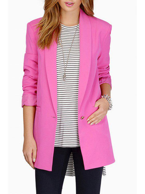 online Shawl Collar Candy Color Long Sleeve Blazer - PEACH RED M