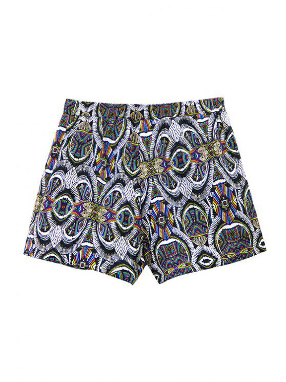 buy Vintage Print High Waisted Shorts - COLORMIX M