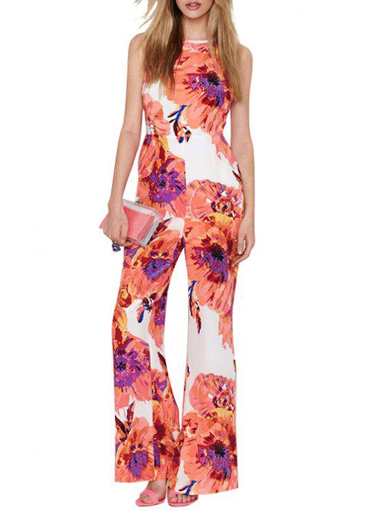 online Spaghetti Strap Cross Backless Floral Print Jumpsuit - WHITE XL