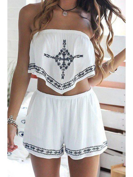Strapless Crop Top + Printed Loose-Fitting Shorts Twinset WHITE Two-Piece Outfits S | ZAFUL