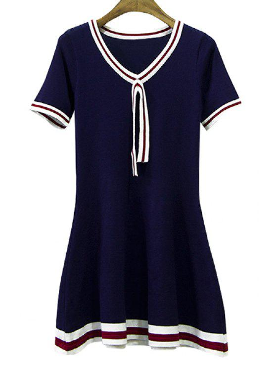 best Striped Spliced Short Sleeve Knit Dress - PURPLISH BLUE ONE SIZE(FIT SIZE XS TO M)