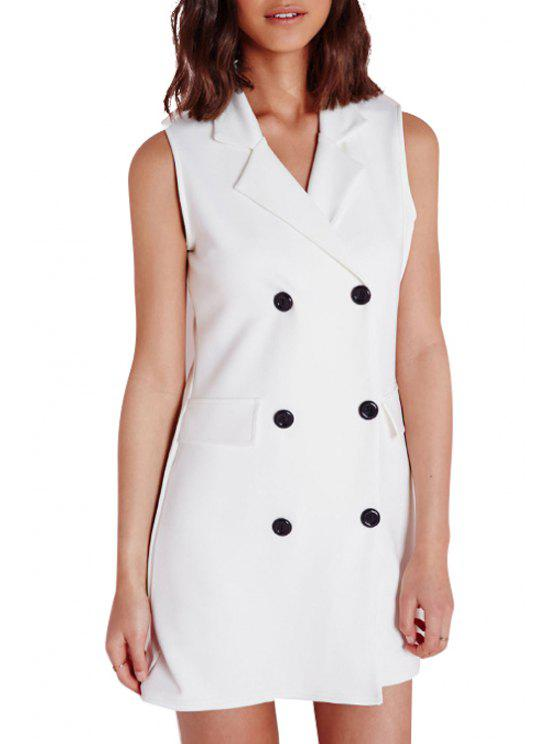trendy Lapel Double-Breasted Sleeveless Dress - WHITE S