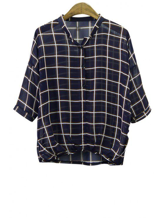 buy Checked 3/4 Sleeve See-Through Shirt - CHECKED M