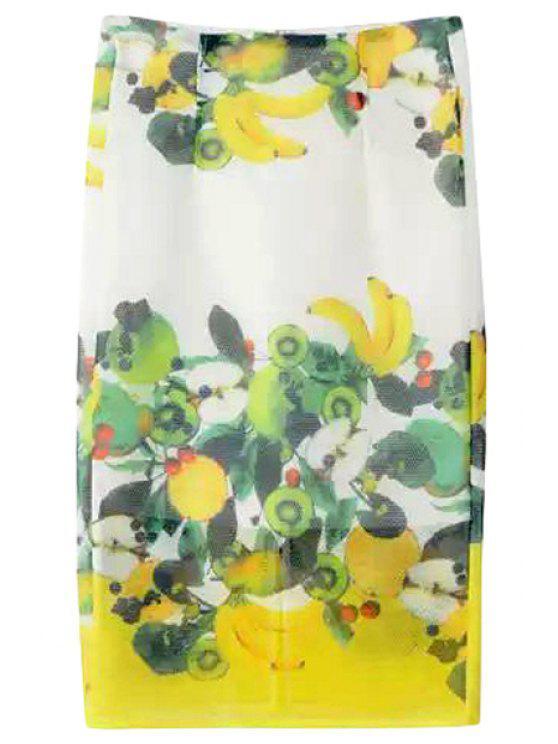women Fruit Print High Waisted Mini Skirt - COLORMIX M
