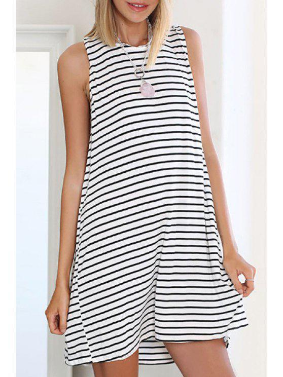 womens Black White Stripe Sleeveless Dress - STRIPE S