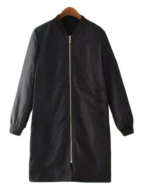 affordable Stand Neck Embroidery Trench Coat - BLACK S