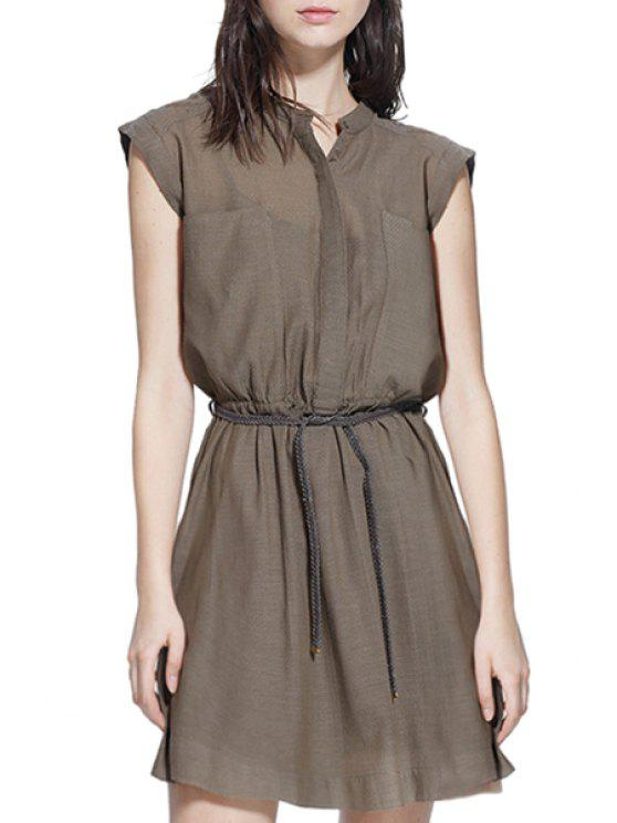 new Round Neck Solid Color Elastic Waist Belt Dress - COFFEE S