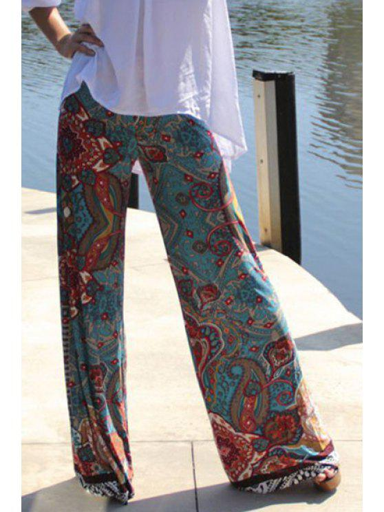 sale Wide Leg Printed Pants - COLORMIX S