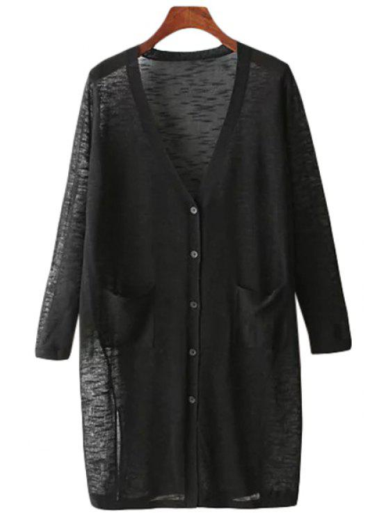affordable Solid Color V Neck Long Sleeve Cardigan - BLACK ONE SIZE(FIT SIZE XS TO M)