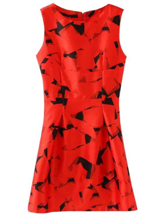 affordable Red Print Flare Sundress - RED M