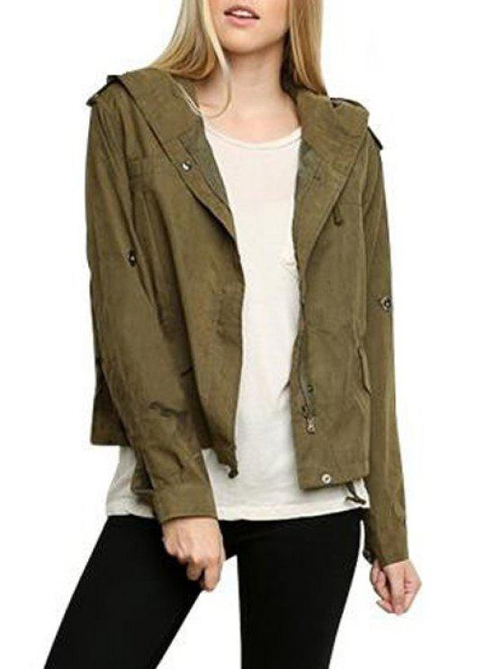 online Hooded Epaulet Embellished Army Green Jacket - GREEN S