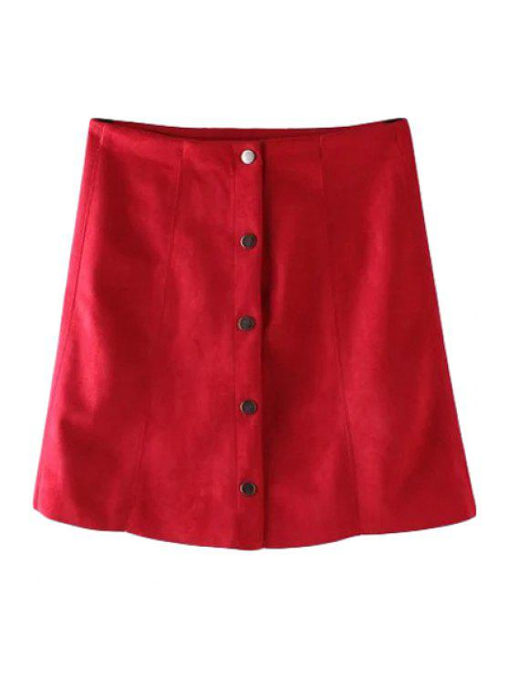 online Single-Breasted Solid Color Skirt - WINE RED S