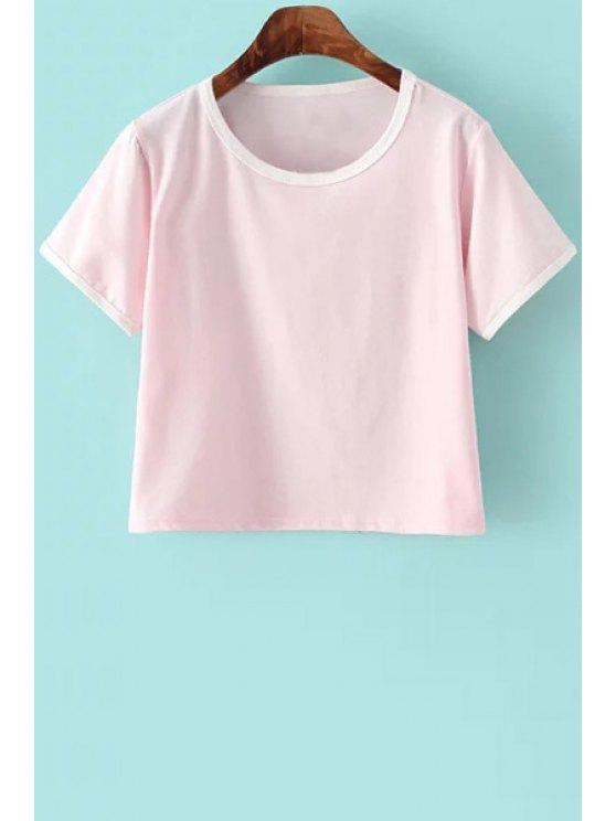 shops Color Block Short Sleeve Round Collar T-Shirt - PINK S