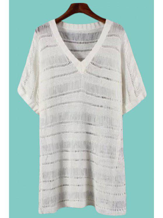 new Short Sleeve Solid Color Sweater Dress - WHITE ONE SIZE(FIT SIZE XS TO M)