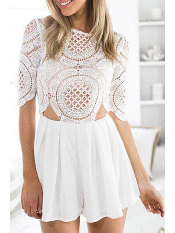 outfit Lace Spliced White Half Sleeve Playsuit - WHITE ONE SIZE(FIT SIZE XS TO M)