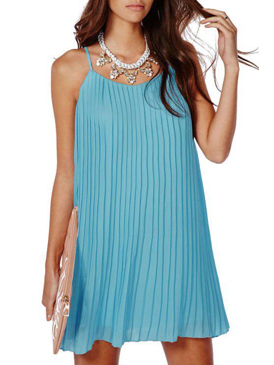 outfit Blue Chiffon Spaghetti Straps Dress - BLUE ONE SIZE(FIT SIZE XS TO M)