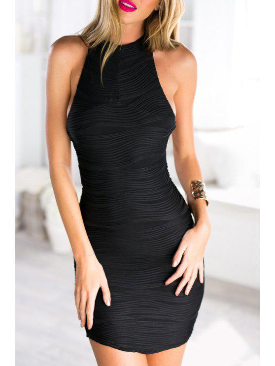 women Sleeveless Solid Color Backless Dress - BLACK ONE SIZE(FIT SIZE XS TO M)
