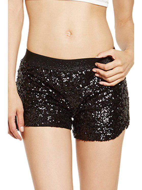 ladies Full Sequins Elastic Waist Shorts - BLACK S