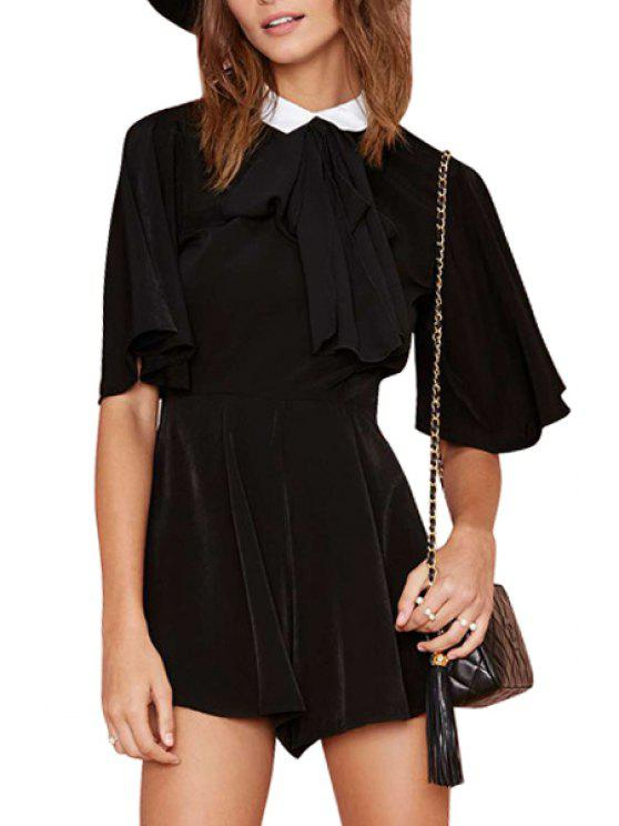 womens Turn-Down Collar Back Slit Bell Sleeve Romper - BLACK S