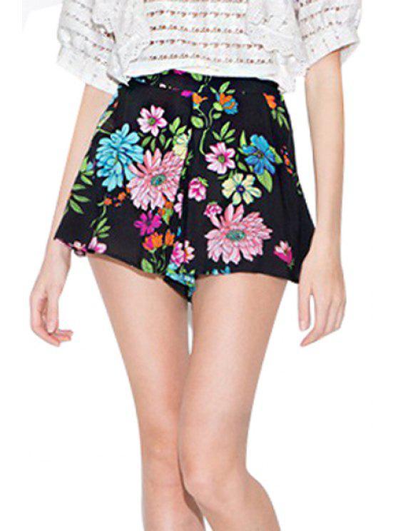 unique Zipper Fly Floral Print Shorts - BLACK S