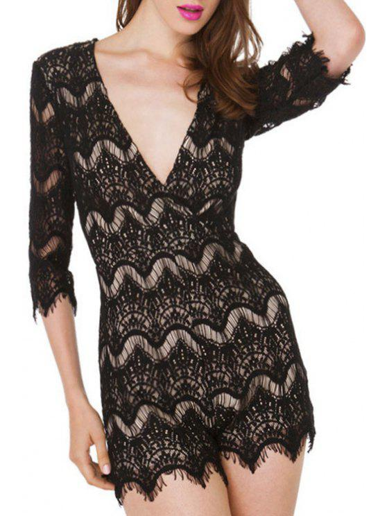 outfits Black Lace Half Sleeve Playsuit - BLACK ONE SIZE(FIT SIZE XS TO M)