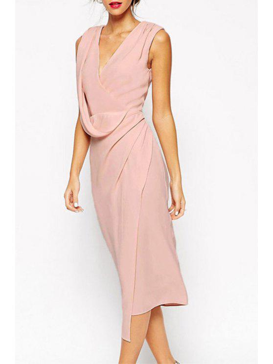 lady Pink Plunging Neck Sleeveless Midi Dress - PINK M